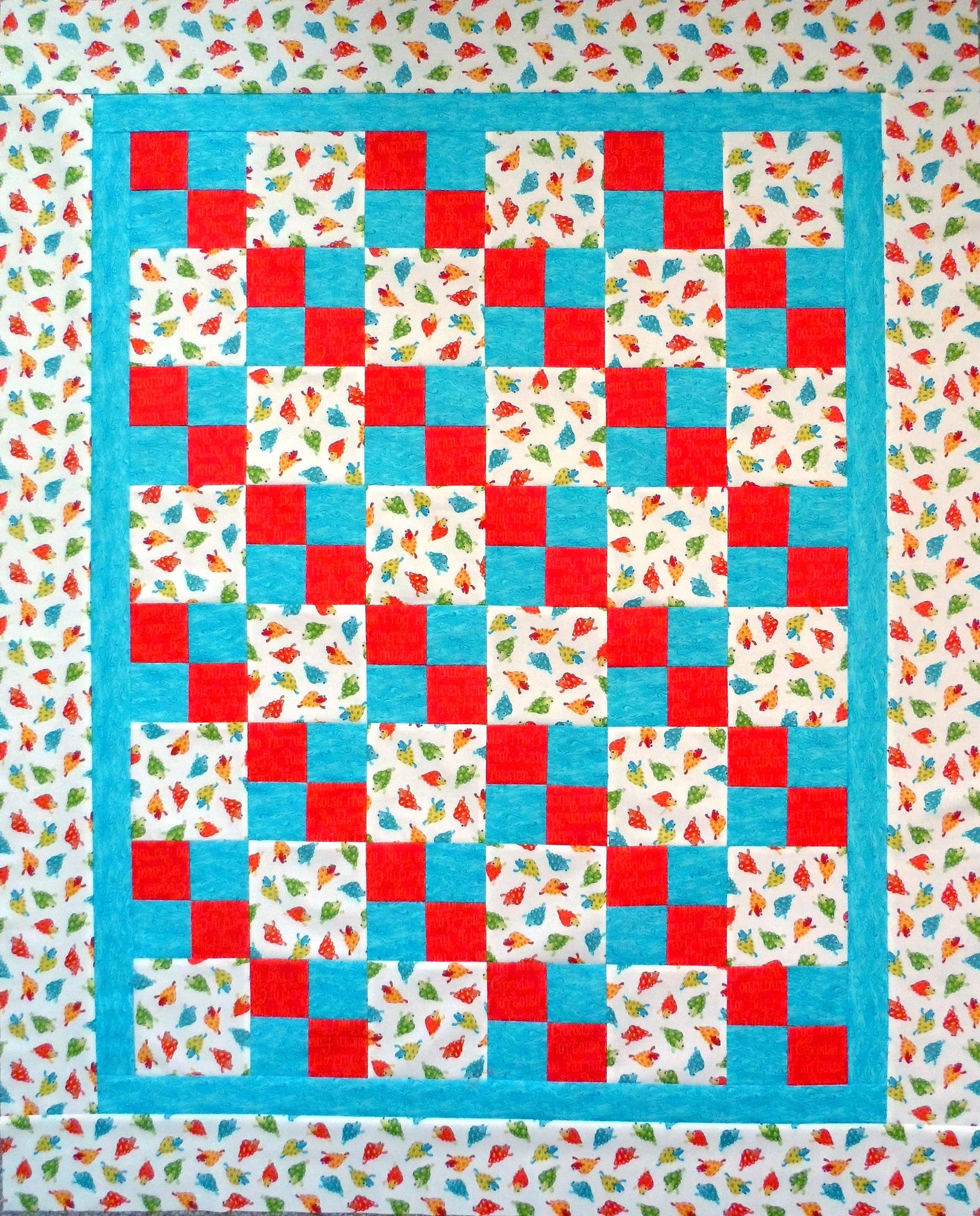 Aussie Turtles Four Patch Baby Quilt Top