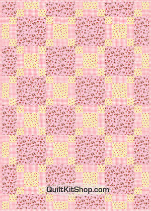 Baby Birds Pink Pre-Cut Quilt Top Kit