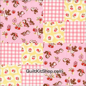 Baby Birds Pink Pre-Cut 12 Block Quilt Kit