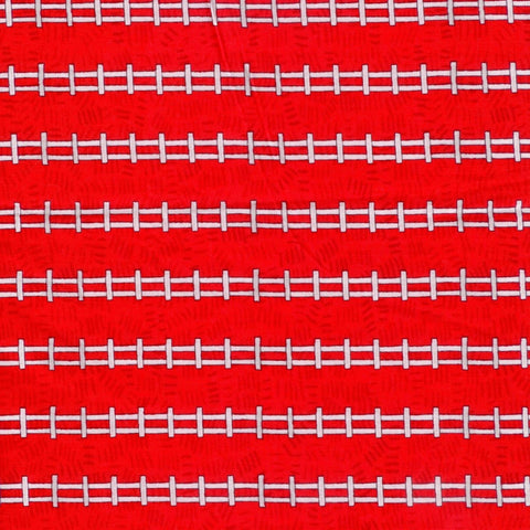 Barnyard Friends Fence Stripe Red Fabric SSI