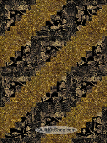 Black Gold PreCut 12 Block Quilt Kit
