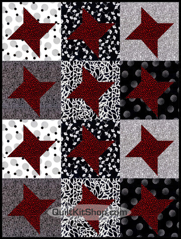 Black Red Star Quilt Kit