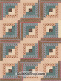 Blue Valley Log Cabin PreCut 12 Block Quilt Kit