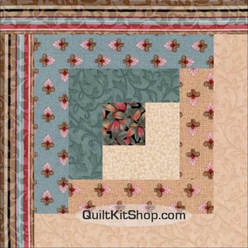 Blue Valley Log Cabin Pre-Cut 12 Block Quilt Kit