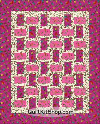 Bountiful Blessings Stockings Rail Fence Pre-Cut Throw Quilt Kit
