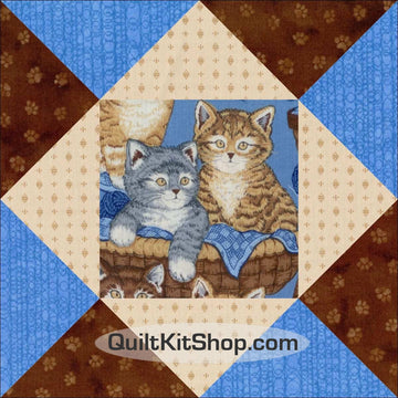 Brown Blue Cats PreCut 12 Block Quilt Kit