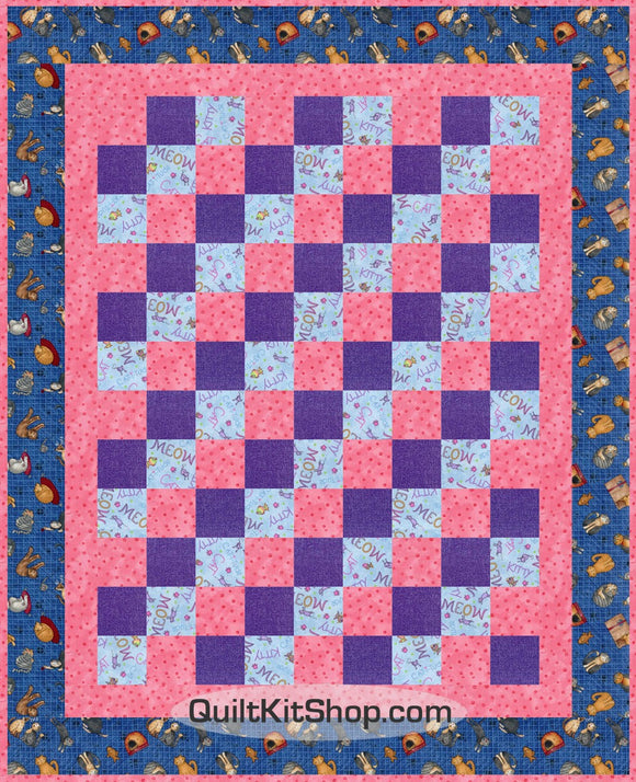 Cat meow quilt top precut kit