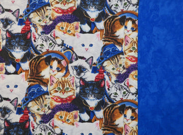 Handmade Travel Pillowcase Cats Blue Kittens