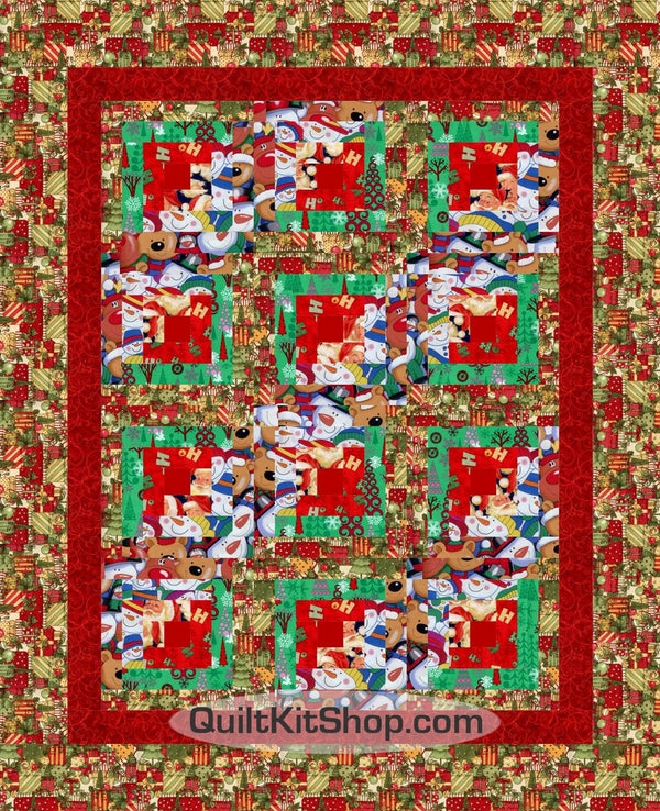 Christmas Collage Log Cabin PreCut Quilt Kit