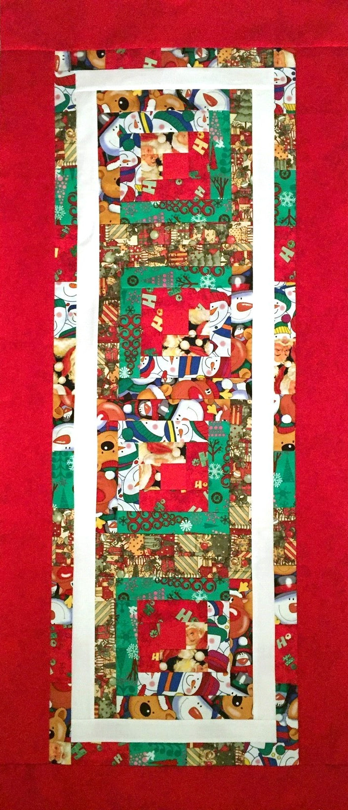 Christmas Collage Log Cabin Large Table Runner Quilt Top