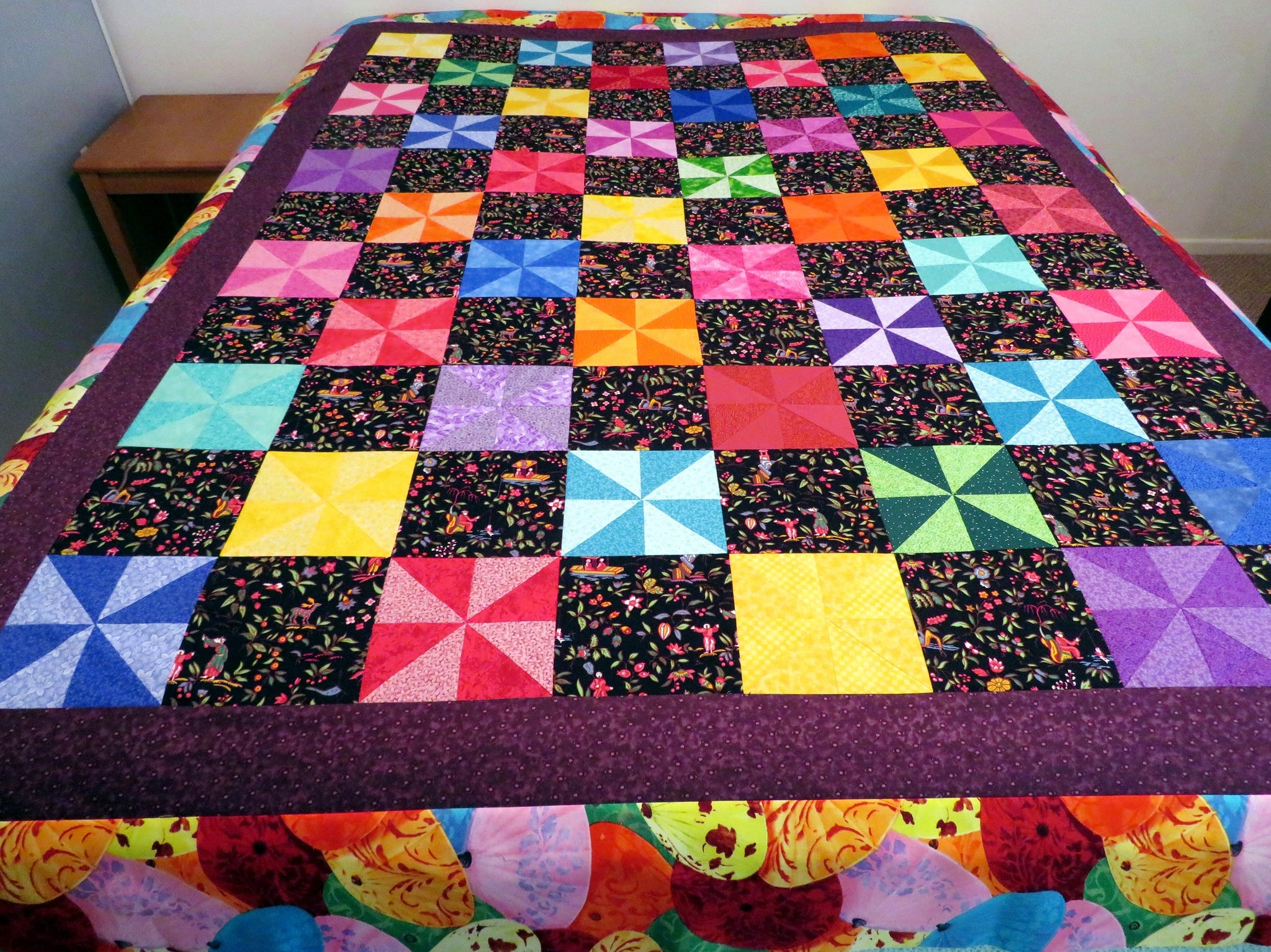 Pinwheel Confetti Pinwheel Twin Quilt Top Unfinished Quilt