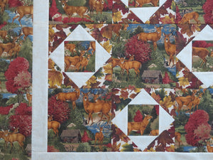 Deer Wildlife Rustic Throw Quilt Top