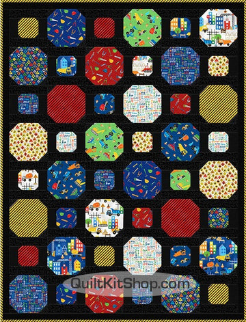 Construction Blue PreCut Quilt Kit