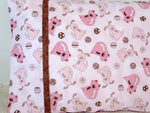 Handmade - Quilt Kit Shop - Dogs Pink Brown Pillowcase Pillow Cover - quiltkitshop