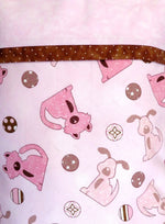 Dogs Pink Brown Handmade Travel Pillowcase
