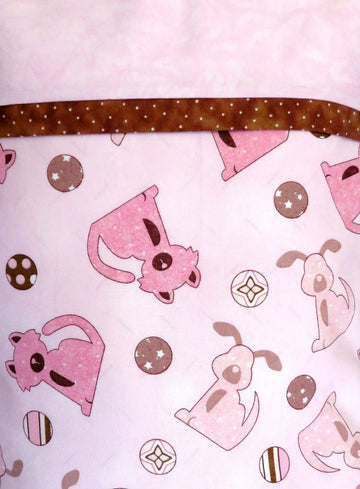 Dogs Pink Brown Pillowcase Travel Pillow Cover