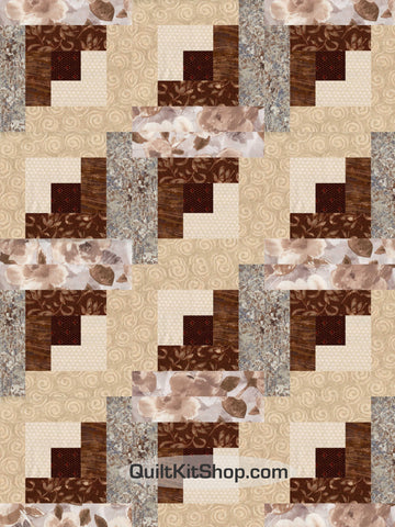 Expressions Evening Brown Pre-Cut 12 Block Quilt Kit