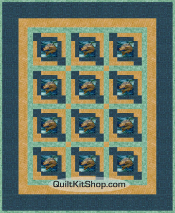 Fish Trout Fishing Pre-Cut Quilt Kit