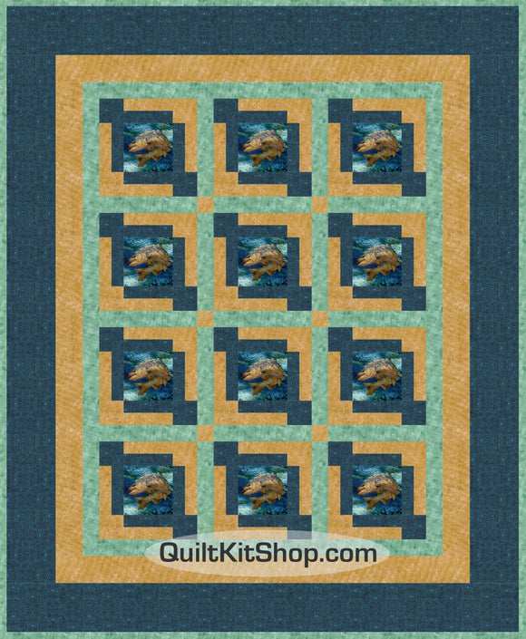 Fish Trout Fishing 47 x 57 PreCut Quilt Kit