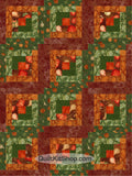Fall Leaves Green Log Cabin PreCut 12 Block Quilt Kit