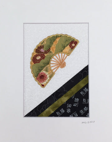 Hand Fan Green Stitched Textile Art