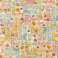 Farmers Market Words Red Rooster Fabric