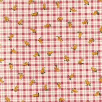 Feather and Furry Friends Red Check Red Rooster Fabric