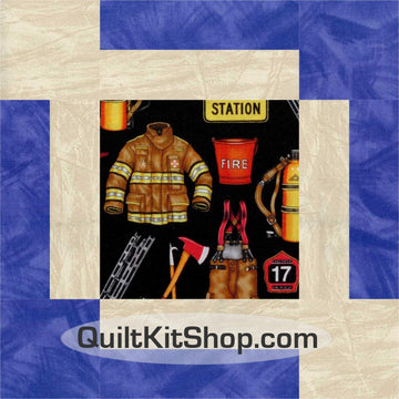Fireman PreCut 12 Large Block Quilt Kit
