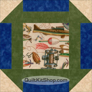Fishing Tackle Pre-Cut 12 Block Quilt Kit