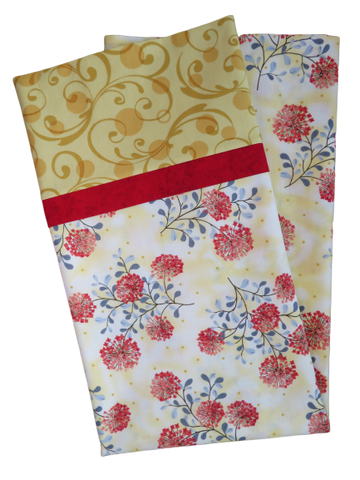 Handmade Pillowcase Floral Gold Red