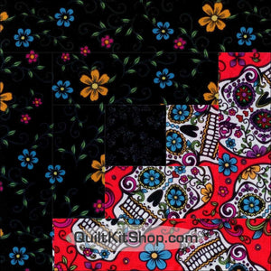 Folkloric Sugar Skull PreCut 12 Block Log Cabin Quilt Kit