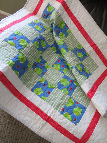 Frogs Ladybug Patchwork Baby Quilt