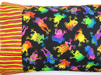 Frogs Bright Multi Pillowcase Travel Pillow Cover