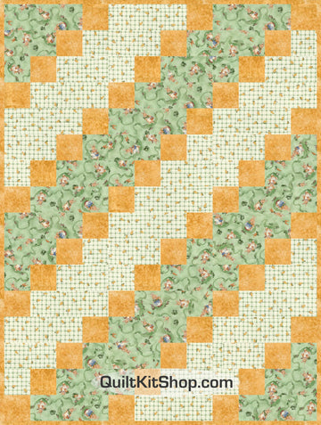 Furry Friends Green PreCut 12 Block Quilt Kit