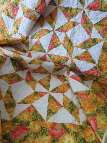 Poppy Fields Patchwork Handmade Quilt