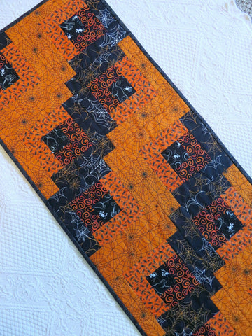 "Quilted Table Runner Halloween Spider 16"" x 57"""