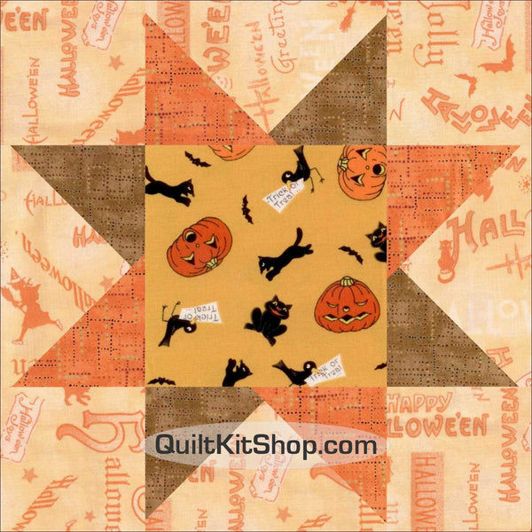 "Halloween Star 12 PreCut 10"" Block Quilt Kit"