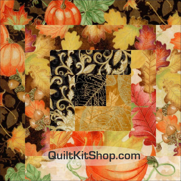 Harvest Log Cabin Pre-Cut 12 Block Quilt Kit