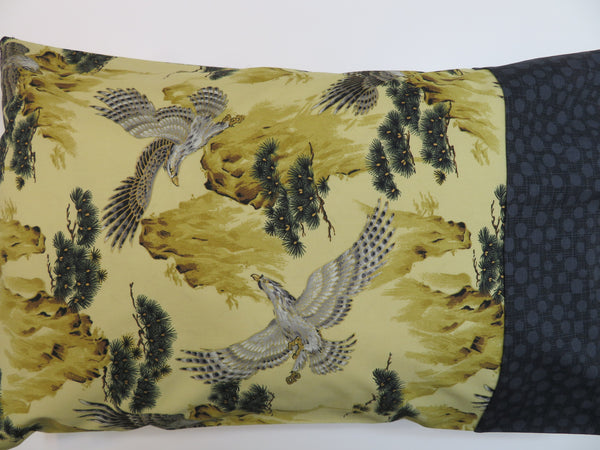Handmade Travel Pillowcase Hawks Golden Taupe