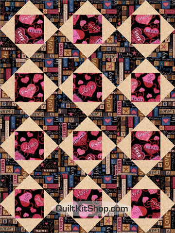 Healing Hearts Faith Square in Squares PreCut GROW Quilt Kit