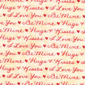 Heart Strings Striped Words Cream Henry Glass Fabric