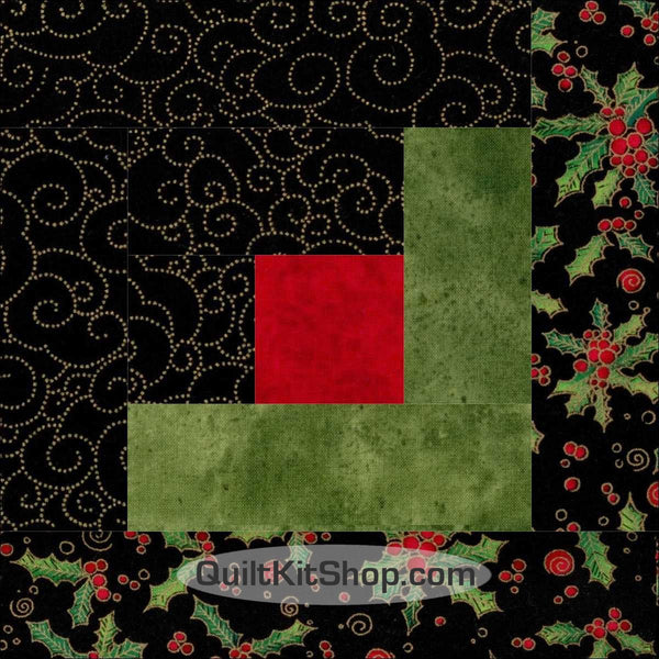 Holly Holiday Log Cabin PreCut Quilt Kit