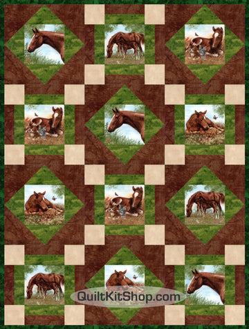 Horse Ranch Stables PRECUT Quilt Block Kit