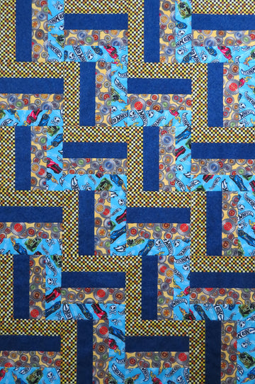 Hot Wheels Blue Baby Quilt Top + Binding