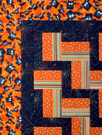 Orange Black Handmade Quilt Top