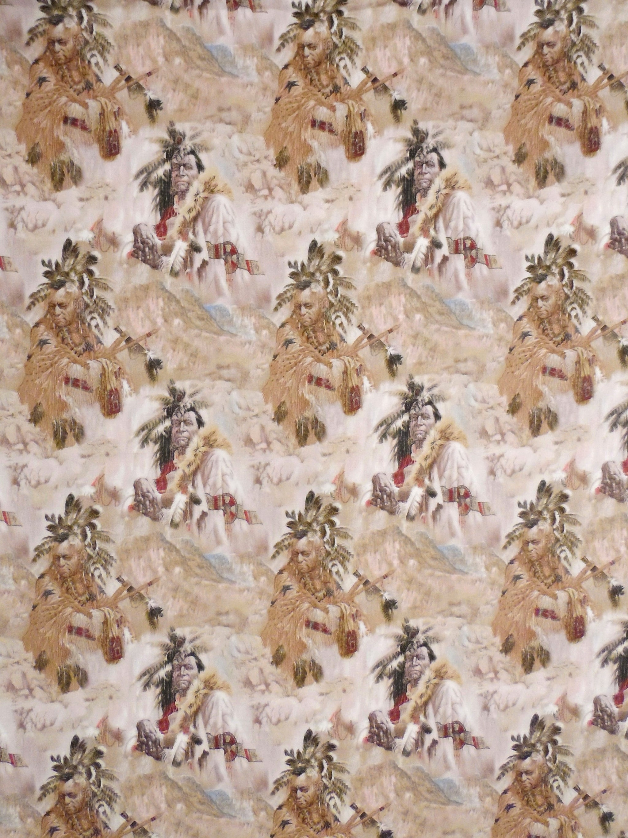 American Indian Portraits Taupe Fabric David Textiles