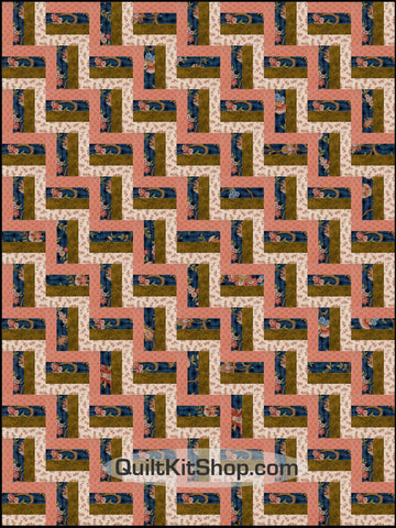 Jacobean Flower Navy PreCut Quilt Kit