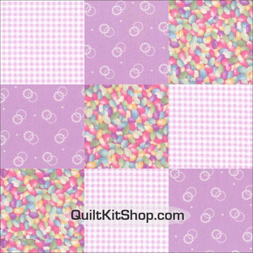 Jelly Beans Candy Pre-Cut 12 Block Quilt Kit