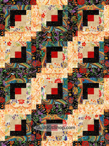 Jewel Flowers Log Cabin PreCut 12 Block Quilt Kit