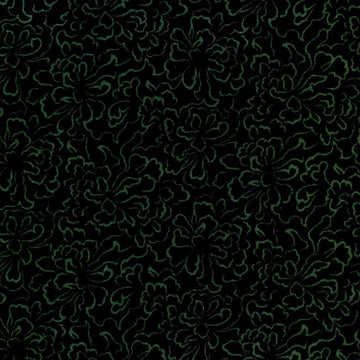Jinny Beyer Palette Green Floral on Black  RJR Fabrics